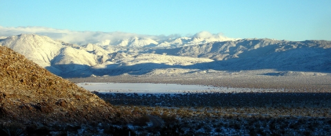 Snowfall in Shelter Valley, looking north from Blair Valley