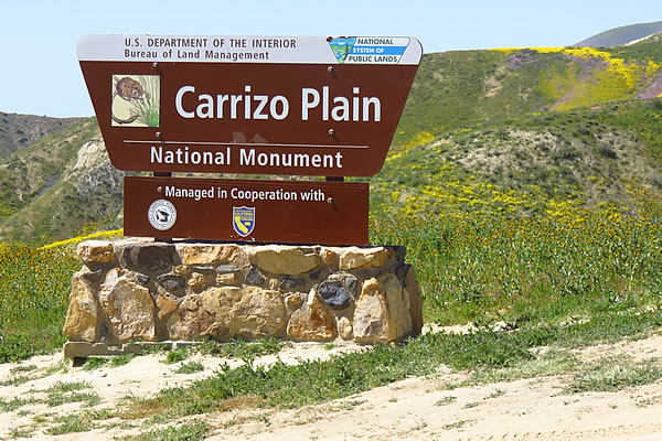Carrizo Plain entrance sign, Hurricane Road