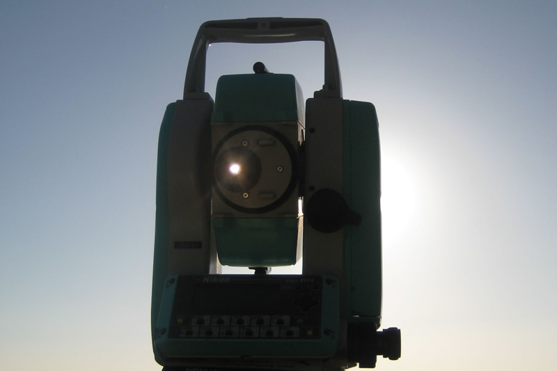 Theodolite in solar backlight