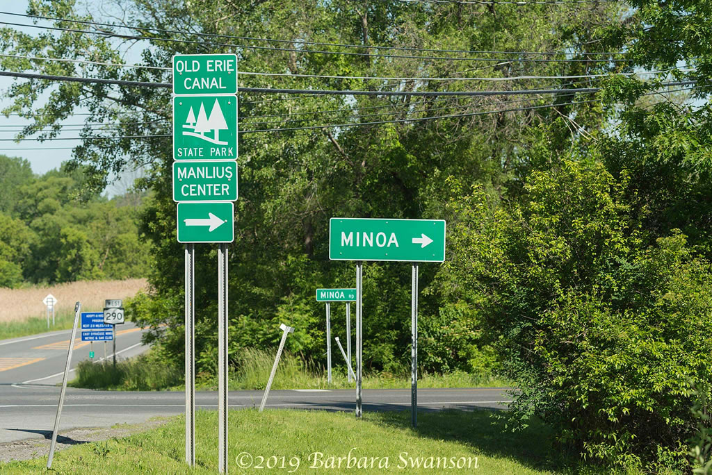 Road signage for Old Erie Canal parking in Manlius