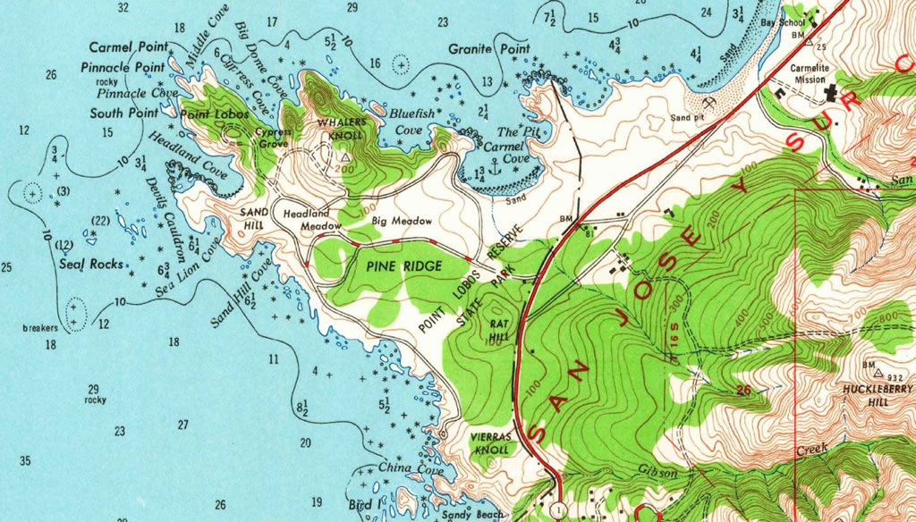 Point Lobos inset, 1913, from USGS 1948 edition recolored