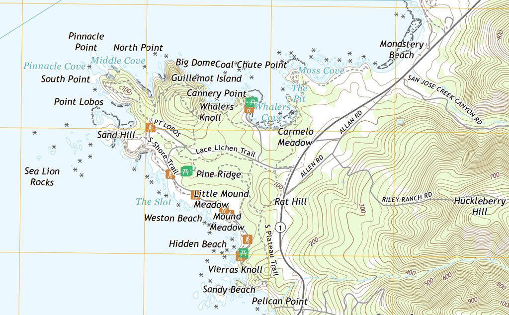 Point Lobos inset, USGS, 2018 digital series