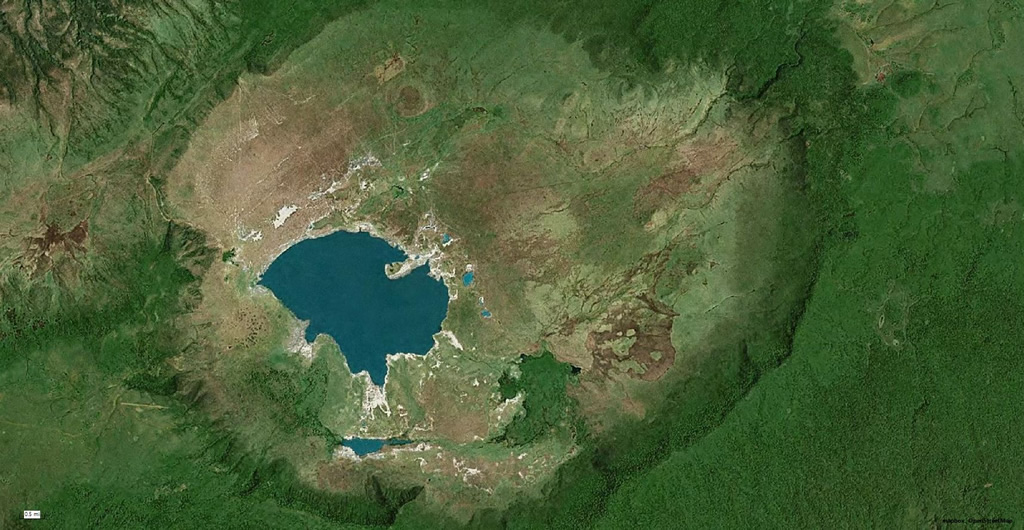 Ngorongoro crater from space